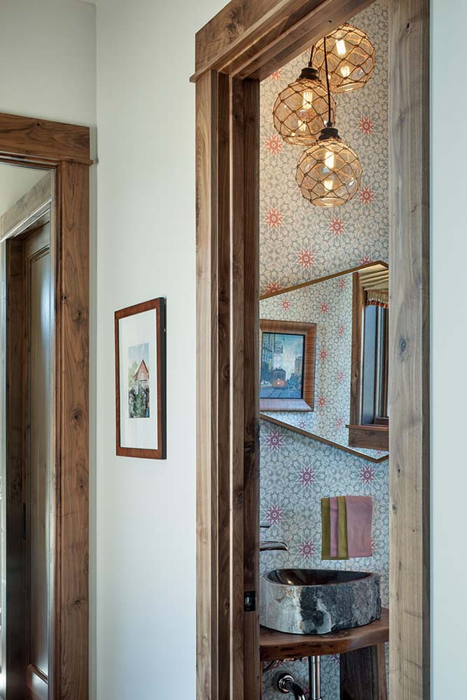 Interior, vertical, powder room from hallway, Fowler residence, Helena, Montana; Boxwoods