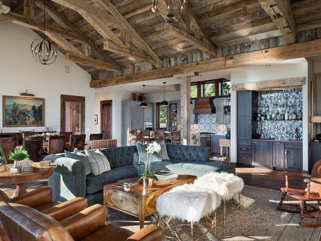 Interior, horizontal, living room toward kitchen, Fowler residence, Helena, Montana; Boxwoods