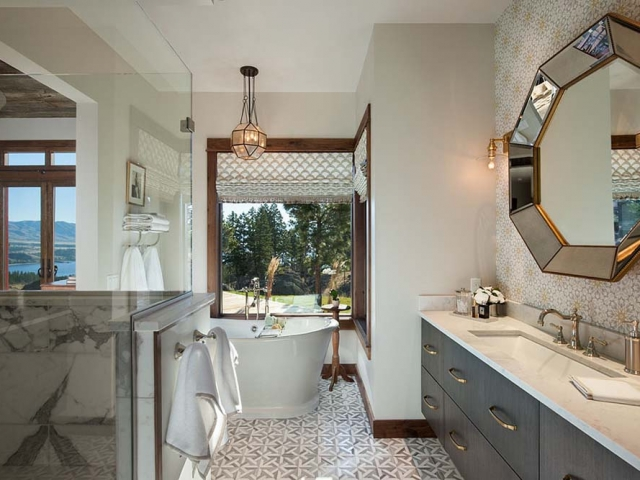 Interior, horizontal, master bathroom toward vanity and bathtub, Fowler residence, Helena, Montana; Boxwoods