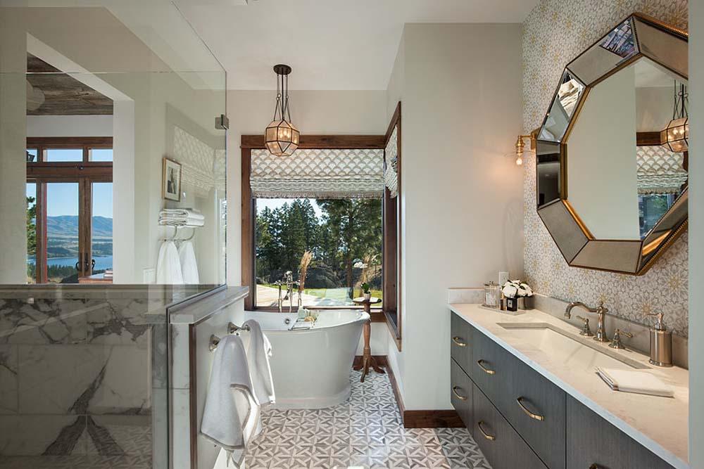 Interior, horizontal, master bathroom toward vanity and bathtub, Fowler residence, Helena, Montana; Boxwoods