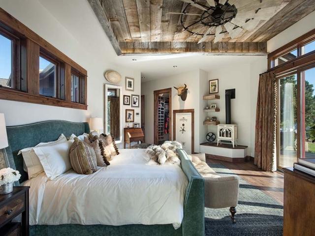 Interior, horizontal, master bedroom toward stove, Fowler residence, Helena, Montana; Boxwoods
