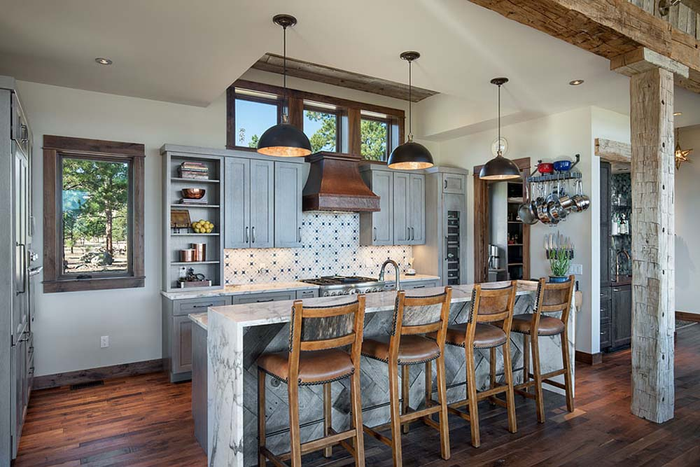 Interior, horizontal, kitchen overall, Fowler residence, Helena, Montana; Boxwoods